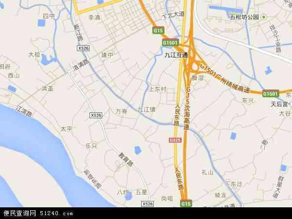 中国广东省佛山市南海区九江镇地图(卫星地图)