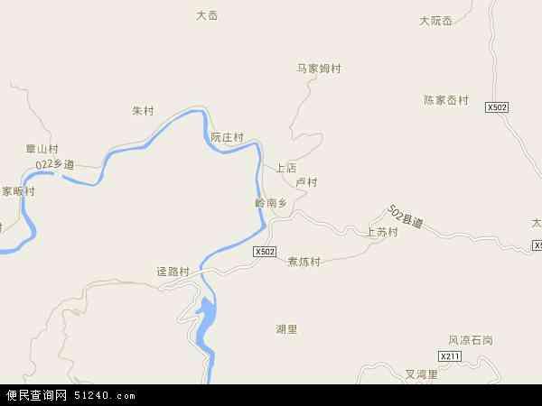 岭南乡地图 - 岭南乡卫星地图