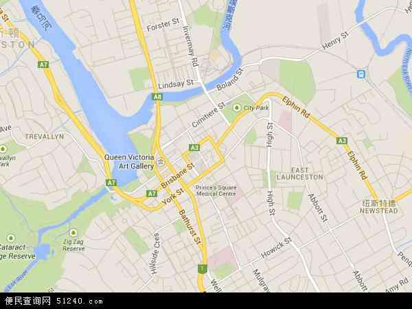 澳大利亚塔斯马尼亚朗塞斯顿地图(卫星地图)