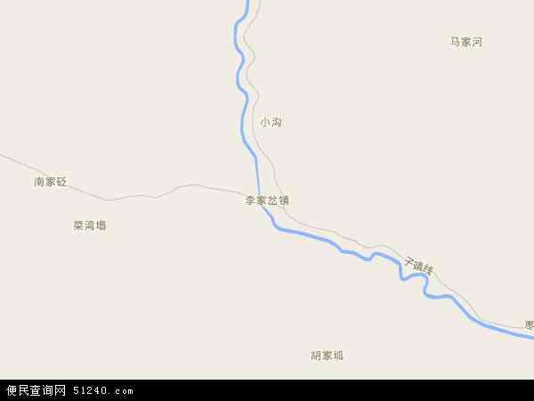 中国陕西省延安市子长县李家岔镇地图(卫星地图)