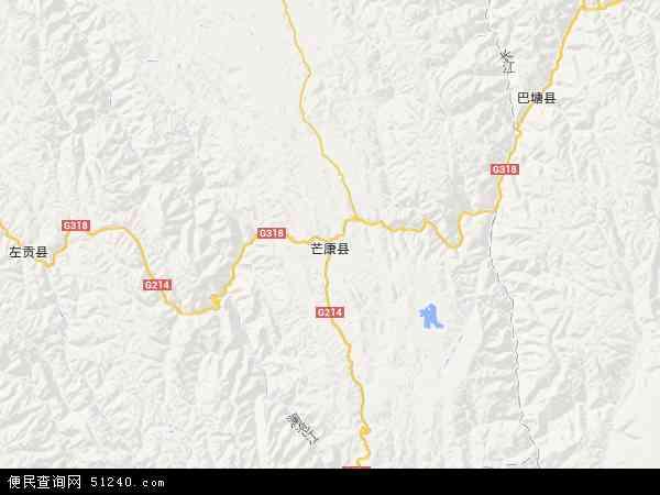 中国西藏自治区昌都地区芒康县地图(卫星地图)图片