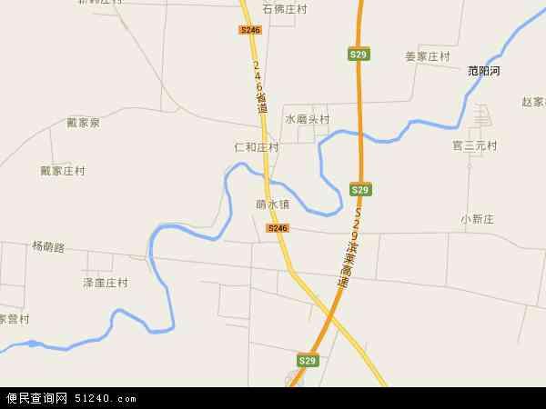 中国山东省淄博市周村区萌水镇地图(卫星地图)