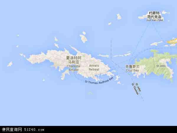 美属维尔京群岛地图 - 美属维尔京群岛电子地图 - 美属维尔京群岛高清地图 - 2016年美属维尔京群岛地图
