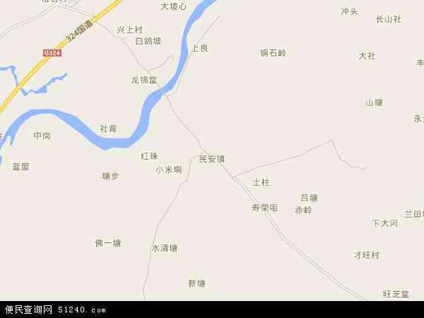 民安镇地图 - 民安镇电子地图 - 民安镇高清地图 - 2017年民安镇地图