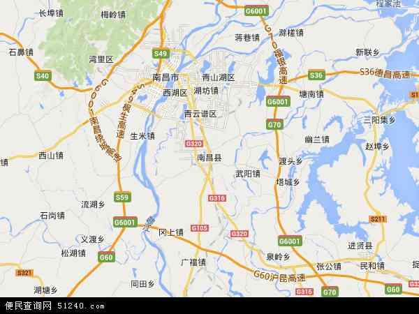 中国江西省南昌市南昌县地图(卫星地图)