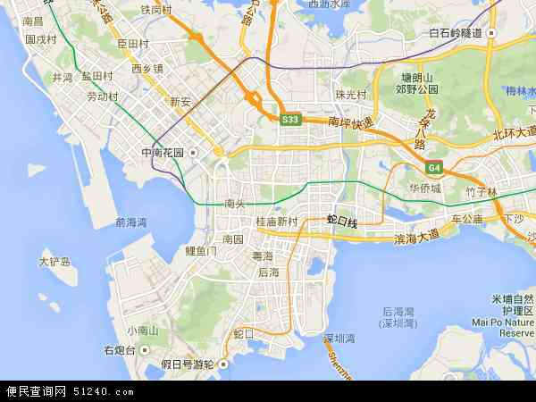 南山区街道划分高清�_南山区地图_南山区各街道分布图