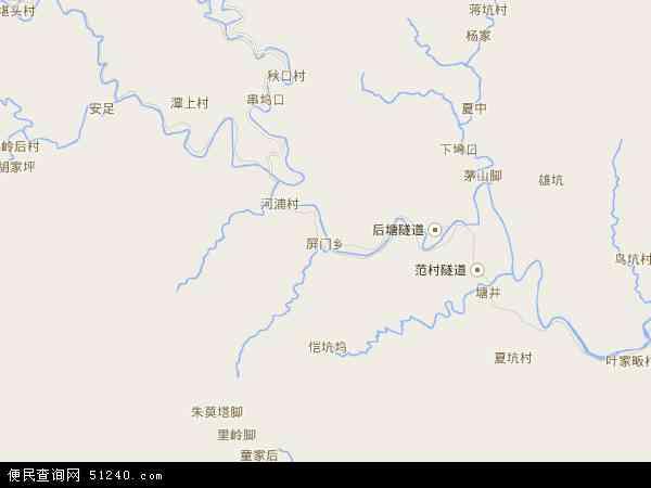 中国浙江省杭州市淳安县屏门乡地图(卫星地图)