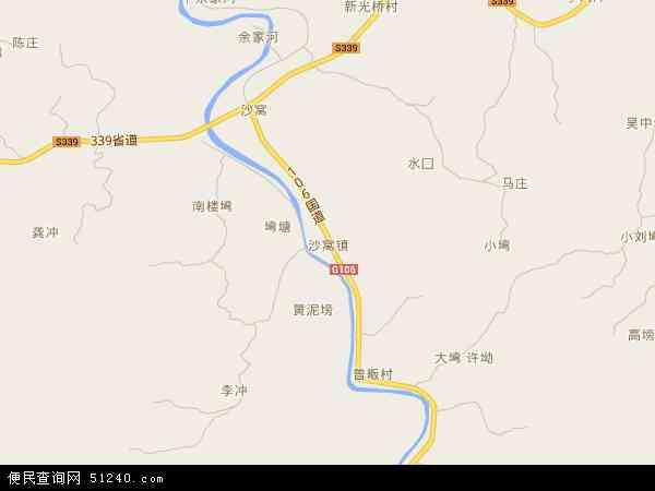 中国河南省信阳市新县沙窝镇地图(卫星地图)