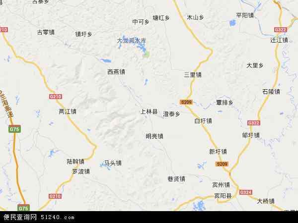 上林县2018年卫星地图 中国广西壮族自治区南宁市上林县地图