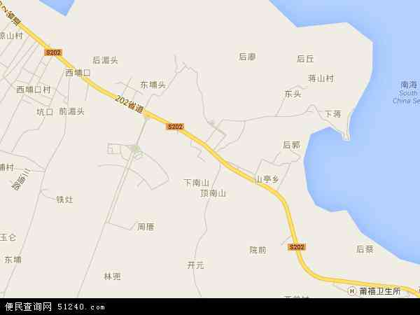 中国福建省莆田市秀屿区山亭镇地图(卫星地图)