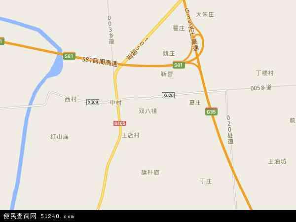 中国河南省商丘市梁园区双八镇地图(卫星地图)