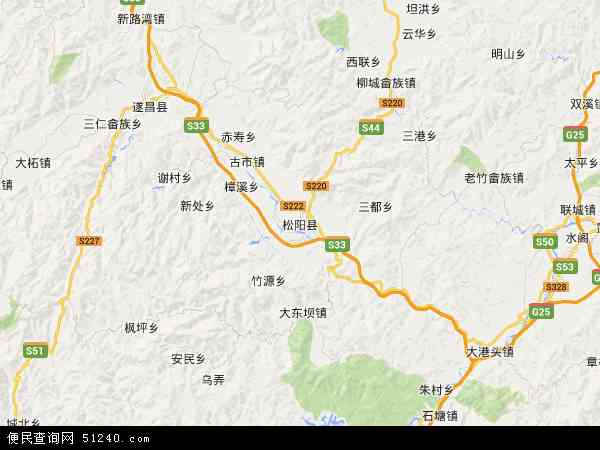 中国浙江省丽水市松阳县地图(卫星地图)