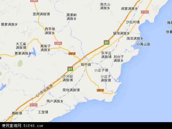 中国辽宁省葫芦岛市绥中县地图(卫星地图)