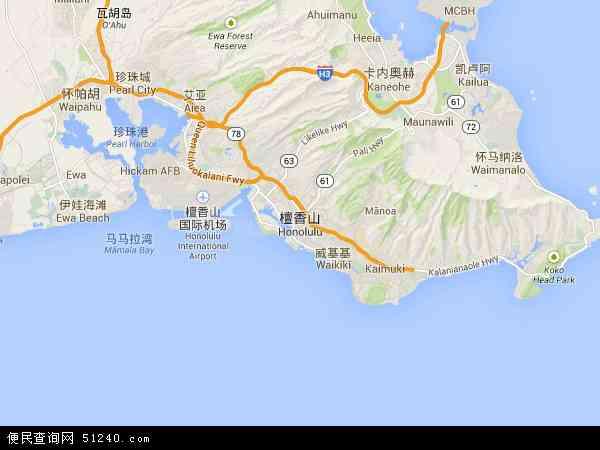 檀香山地图 - 檀香山卫星地图
