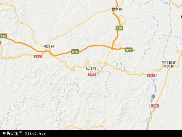 省黔东南苗族侗族自治州从江县往洞镇地图(卫星地图)