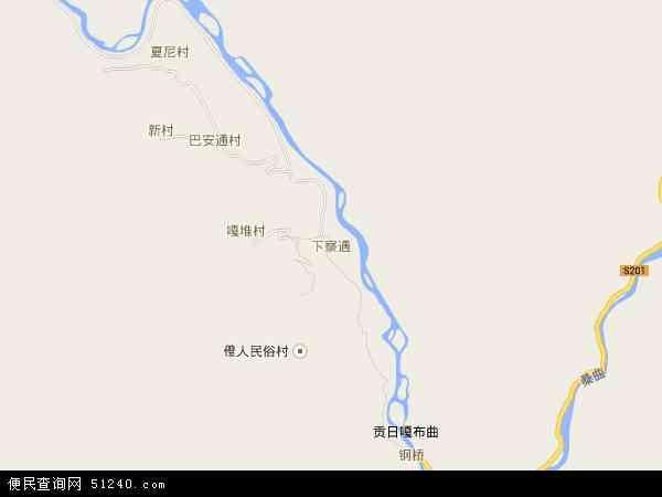 中国西藏自治区林芝地区察隅县下察隅镇地图(卫星地图)