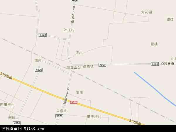 中国河南省商丘市梁园区谢集镇地图(卫星地图)图片