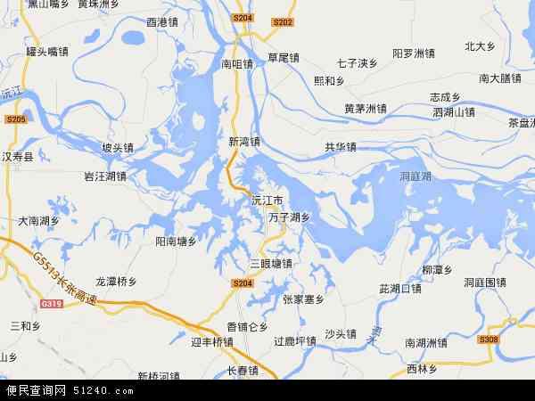 中国湖南省益阳市沅江市地图(卫星地图)