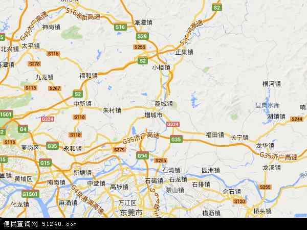中国广东省广州市增城市地图(卫星地图)