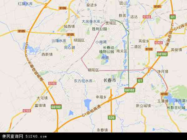中国吉林省长春市朝阳区地图(卫星地图)