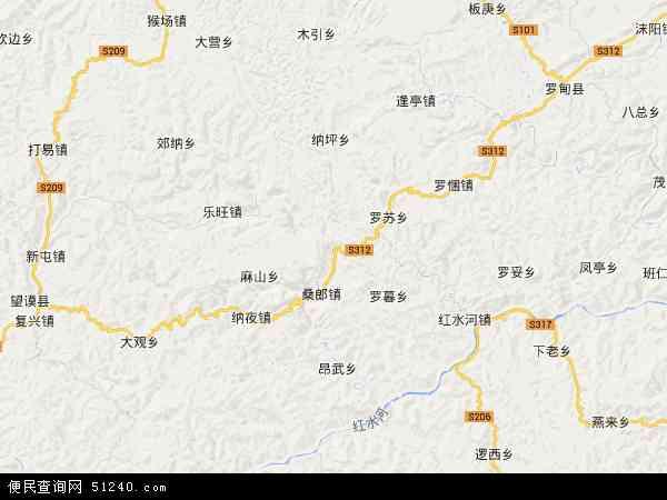 中国贵州省黔西南布依族苗族自治州望谟县大观镇地图(卫星地图)