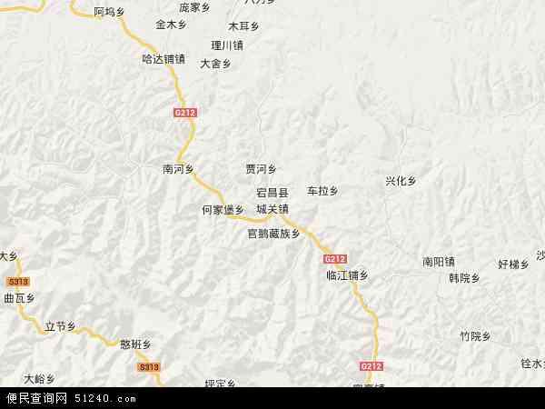 中国甘肃省陇南市宕昌县地图(卫星地图)