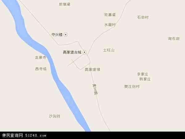 中国陕西省榆林市神木县高家堡镇地图(卫星地图)