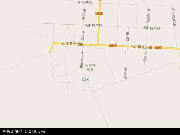 中国新疆维吾尔自治区塔城地区裕民县哈拉布拉乡地图