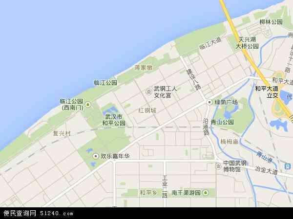 中国湖北省武汉市青山区红钢城地图(卫星地图)图片
