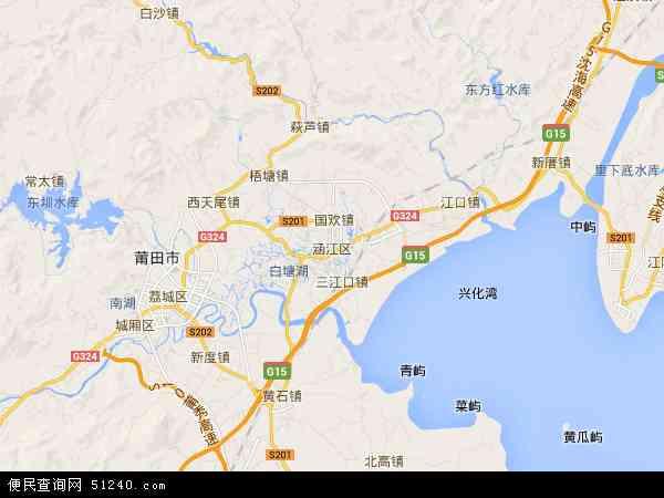 中国福建省莆田市涵江区地图(卫星地图)
