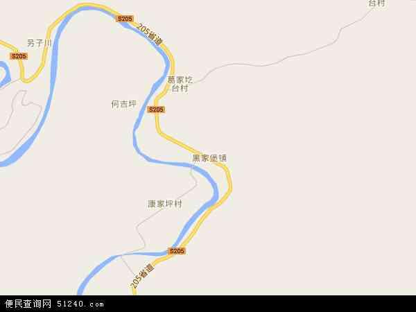 中国陕西省延安市延长县黑家堡镇地图(卫星地图)