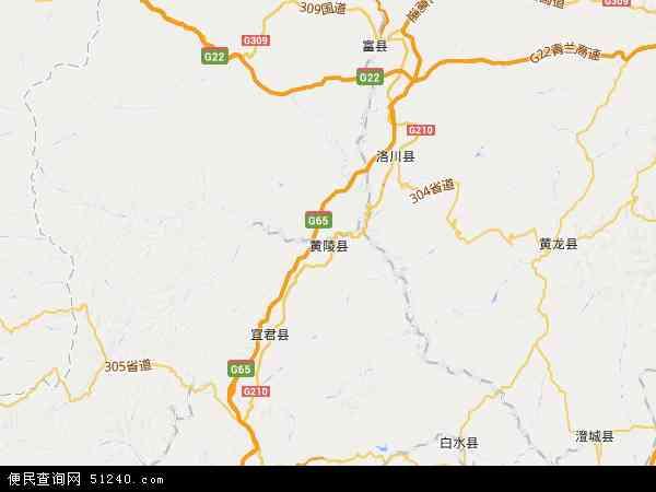 中国陕西省延安市黄陵县地图(卫星地图)