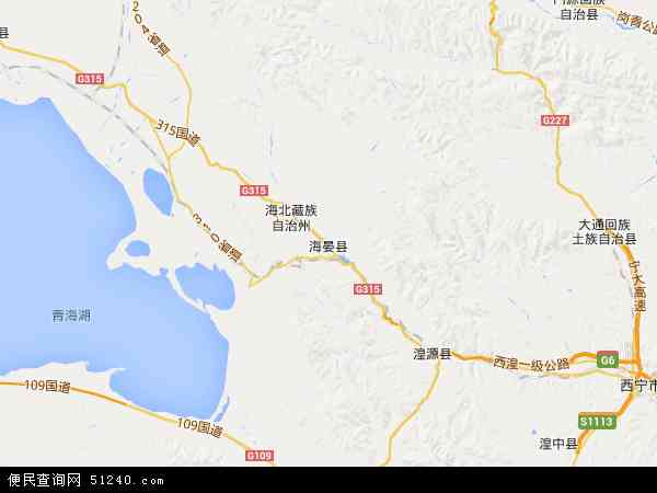 中国青海省海北藏族自治州海晏县地图(卫星地图)