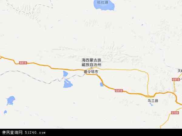 中国青海省海西蒙古族藏族自治州德令哈市冷湖镇地图(卫星地图)