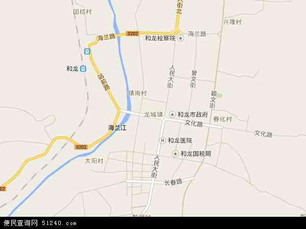 中国吉林省延边朝鲜族自治州和龙市龙城镇地图