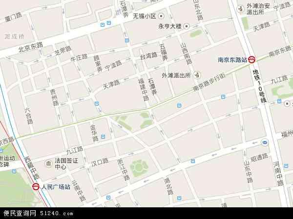 中国上海市黄浦区南京东路地图(卫星地图)