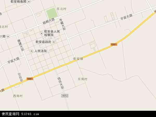 中国吉林省松原市乾安县乾安镇地图 卫星地图