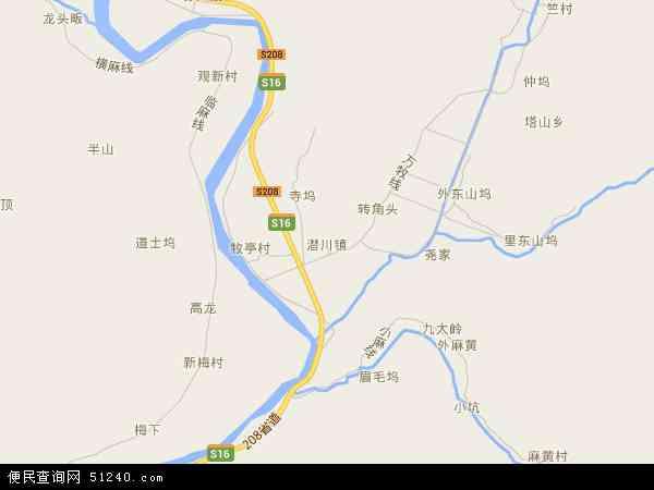 中国浙江省杭州市临安市潜川镇地图(卫星地图)