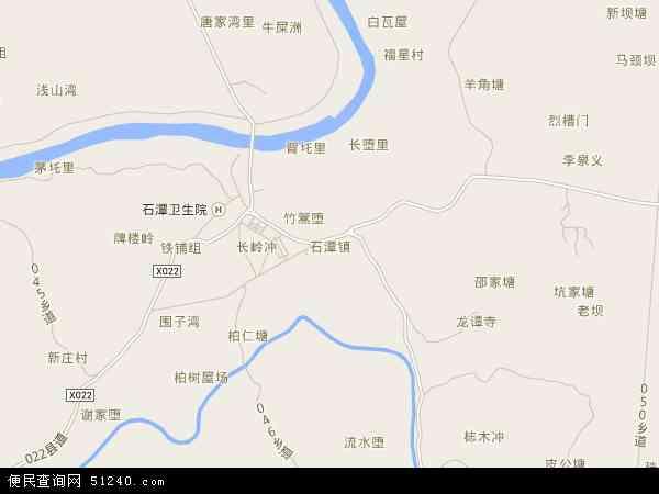中国湖南省湘潭市湘潭县石潭镇地图(卫星地图)