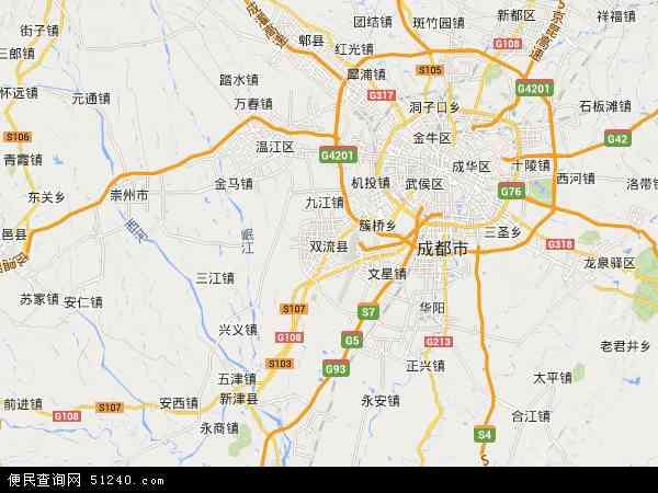 中国四川省成都市双流县地图(卫星地图)