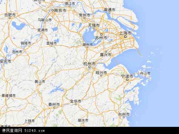 中国浙江省地图(卫星地图)