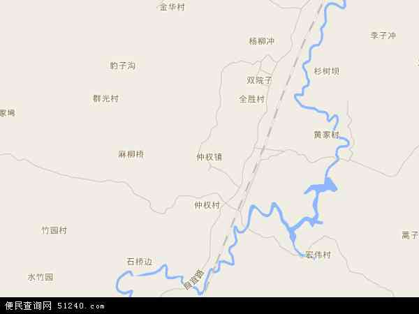 中国四川省自贡市自流井区仲权镇地图(卫星地图)