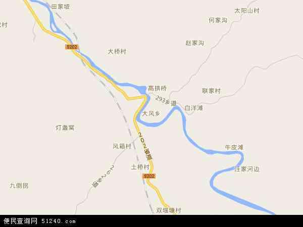 大风乡2018年卫星地图 中国四川省达州市达川区大风乡地图