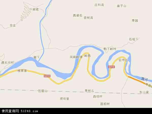 中国陕西省宝鸡市陈仓区凤阁岭镇地图(卫星地图)