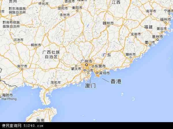 中国广东省地图(卫星地图)