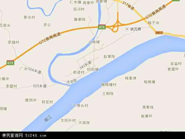 中国湖南省衡阳市祁东县归阳镇地图(卫星地图)