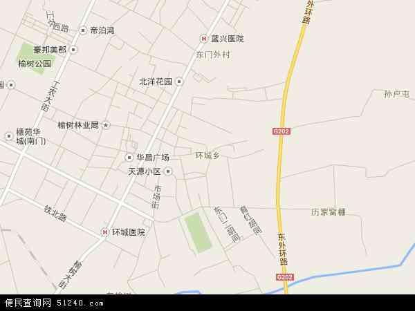 中国吉林省长春市榆树市环城乡地图(卫星地图)