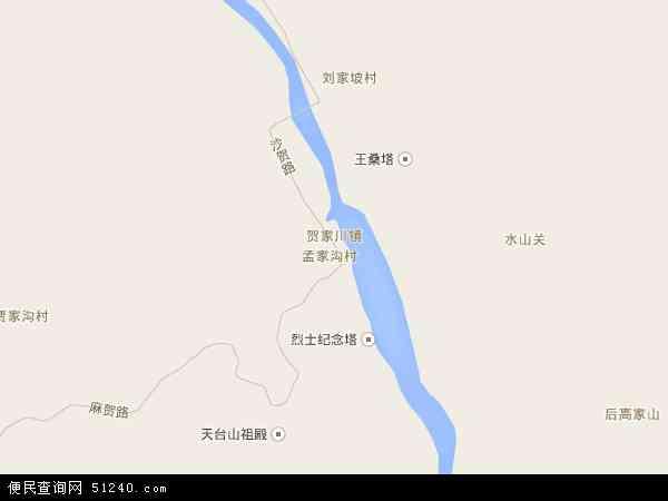 中国陕西省榆林市神木县贺家川镇地图(卫星地图)