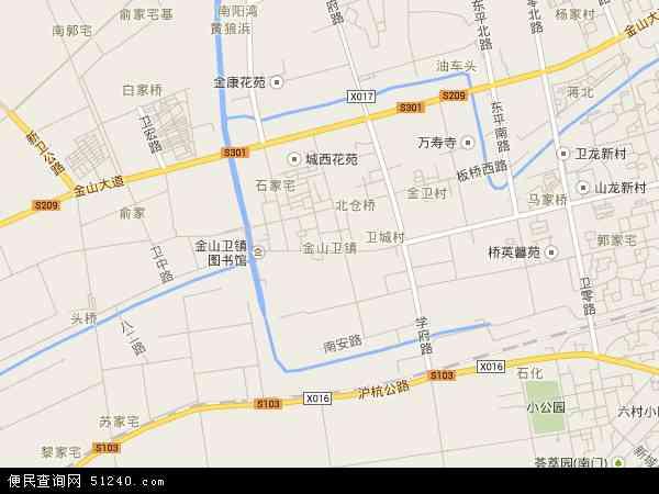 中国上海市金山区金山卫镇地图(卫星地图)
