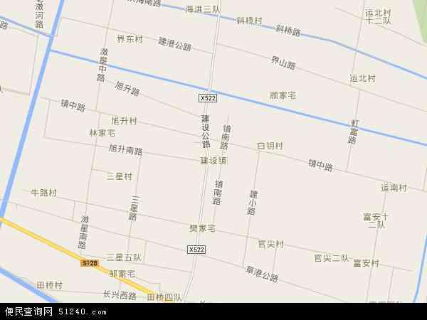 中国上海市崇明县建设镇地图(卫星地图)